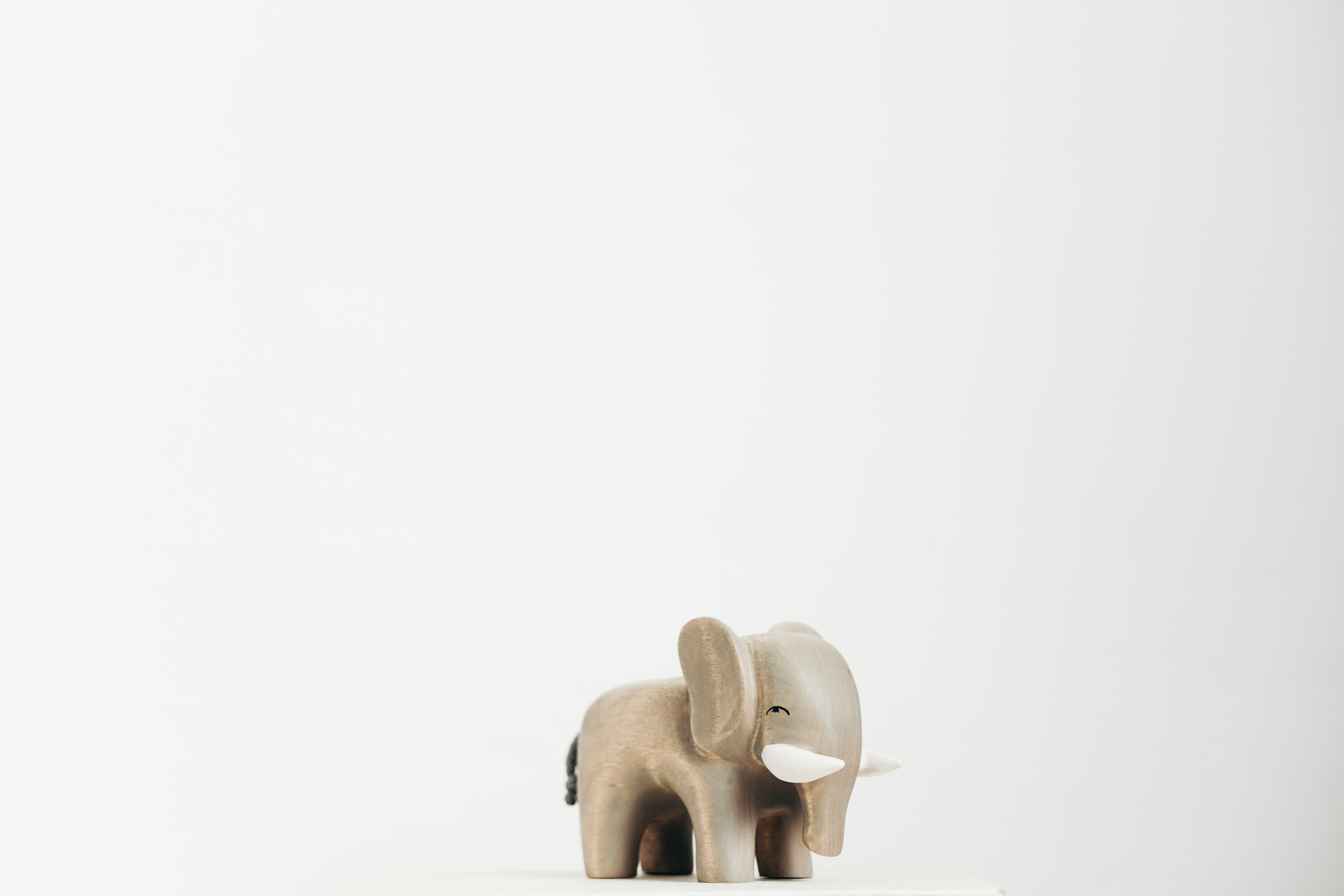 Wooden Elephant with White Background